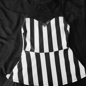 Black and White Stripes Peplum Top SIZE SMALL